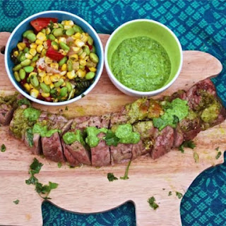 Cilantro Pesto-Stuffed Pork Tenderloin With Summer Succotash