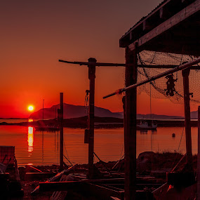 Sunset harbour by Benny Høynes - Buildings & Architecture Other Exteriors ( sunset, harbour, sea, colours, norway )