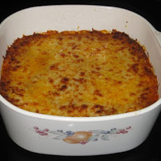 Cheesy Ground Beef-Spinach Sour Cream Noodle Casserole