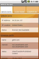 Screenshot of DDWhois - Domain name lookup