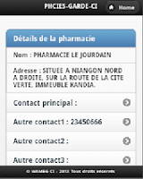 Screenshot of Pharmacies Garde Côte d'Ivoire