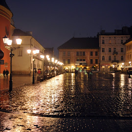 Krakow by Dhanika Ranasinghe - City,  Street & Park  Street Scenes ( night photography, krakow, street, nightscape, poland )