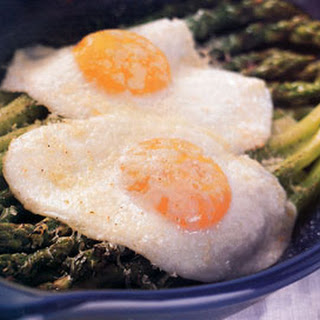 Fried Eggs and Asparagus with Parmesan