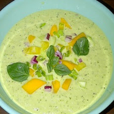 Chilled Cucumber and Yogurt Soup with Mango and Fresh Herbs