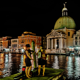 Serenade! by Jesus Giraldo - City,  Street & Park  Street Scenes ( urban, concept, colors, street, art, boats, buildings, venice, night, beauty, women )