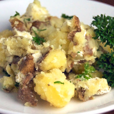 Smashed Potatoes w/ Goat's Cheese & Parsley