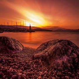 Guardians of the Seas by George Bak - Landscapes Waterscapes ( tokina 17mm atx pro, waterscape, sunset, george back, lighthouse, nikon d600, long exposure, seascape, landscape )