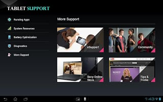 Screenshot of Tablet Support