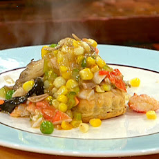 Lobster, Mushroom and Sweet Corn in a Pastry Boat