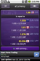 Screenshot of aCurrency (exchange rate)