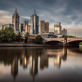 Melbourne city and Princes Bridge. by Zubair Aslam - City,  Street & Park  Skylines ( princess, princes bridge, melbourne, melbourne city, long exposure, city,  )