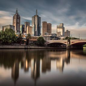 Melbourne city and Princes Bridge. by Zubair Aslam - City,  Street & Park  Skylines ( princess, princes bridge, melbourne, melbourne city, long exposure, city, , golden hour, sunset, sunrise )