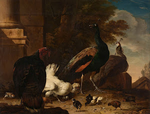 RIJKS: Melchior d' Hondecoeter: A Hen with Peacocks and a Turkey 1680