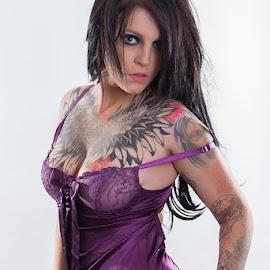 Kaylyn Chest Piece by Mark Davis - People Body Art/Tattoos ( model, purple, tattoos, tattoo, ink, person, people )