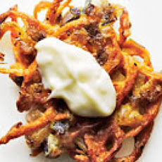 Sweet Potato-Red Onion Latkes with Aioli