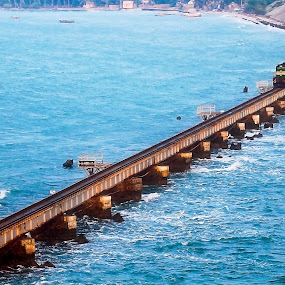 Ramshwaram by Gurucharan Shamji - Transportation Trains ( rameshwaram, journey, train, india, bridge, destination )