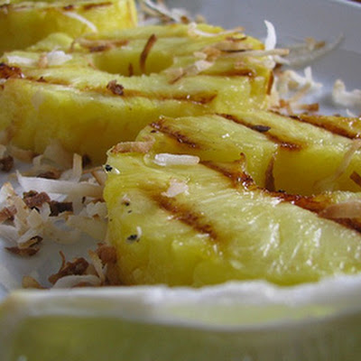 Grilled Rum Pineapple with Coconut on the Barbecue