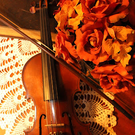 Violin, Flowers & Lace by Gwen Short - Artistic Objects Musical Instruments ( lace, afteroz, silk, old book, wood, violin, bow, flowers, fiddle )
