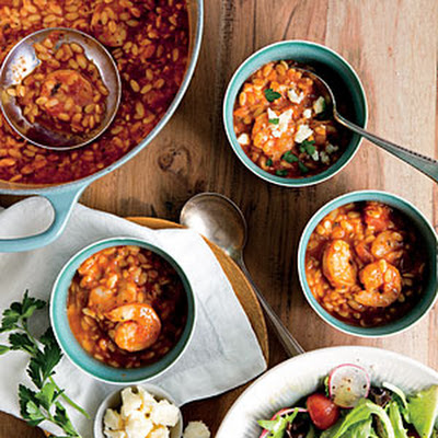 Shrimp Marinara Soup with Crumbled Feta
