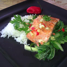 Salmon  With Bok Choy, Asian Sauce and Salmon Roe