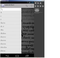 Screenshot of Lewis & Short Latin Dictionary