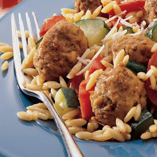 Meatballs with Orzo and Italian Vegetables