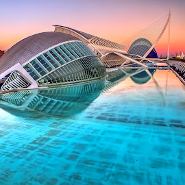 by Alessandro Genero - Buildings & Architecture Architectural Detail ( water, sunset, valencia, bridge, architecture,  )