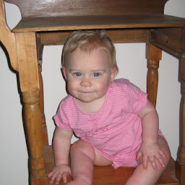 I can fit! by Lori Rider - Babies & Children Babies ( girl, wood, baby, smile, furniture )