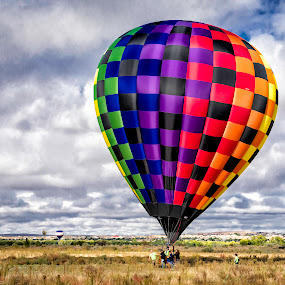 Landing in the Field by Chris Bartell - Transportation Other ( field, hot air balloon, alburquerque, balloon, new mexico, , colorful, mood factory, vibrant, happiness, January, moods, emotions, inspiration, color, lighting, light, bulbs, mood-lites )