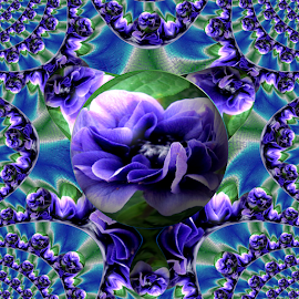 Pretty Blue by Tina Dare - Digital Art Abstract ( abstract, patterns, designs, texture, distorted, blue flower, flower, blues, curves, shapes )