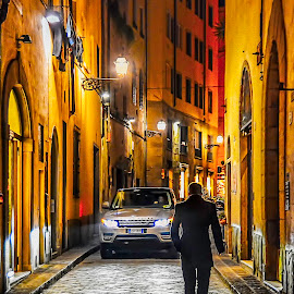 Florence Italy Evening Glow by Maggie Magee Molino - City,  Street & Park  Night ( cobblestones, florence, streets, gold, italy, light, shadows,  )