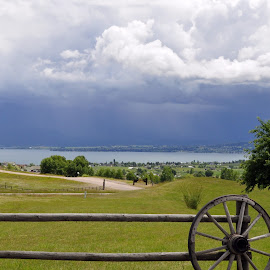 Storm in Kalispell by Dorothy Valine Gram - Landscapes Prairies, Meadows & Fields