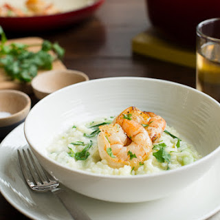 Bok Choy Risotto with Coconut Milk and Pan Seared Shrimp