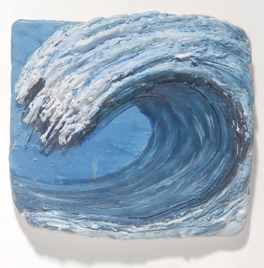 Wave tile <br> Stoneware, low fired with acrylic paint <br> 4 x 4 in