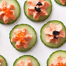 Smoked Salmon with Caviar on Cucumber
