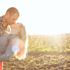 Dip Kiss by Kate Gansneder - People Couples ( kiss, dip, sunset, couple )