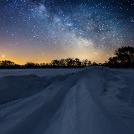 Frozen Lake Minnewaska Milky Way by Aaron Groen - Landscapes Starscapes ( lake minnewaska, glenwood, milky way, minnesota, sky, starbuck, cold, ice, stars, snow, dark, astrophotography, night, galactic center, venus )