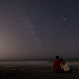 Star Gazing by NIcole Fetter - People Couples ( water, canon, silverstrandbeach, sand, california, canon70d, romantic, ocean, beach, landscape, people, stars, oxnard, couple, night, longexposure,  )
