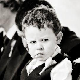 Grumpy Moment by Alan Evans - Wedding Ceremony ( wedding photography, children candid, wedding day, wedding, jindabyne wedding photographer, aj photography, candid, grumpy, canberra wedding photographer, marriage, ceremony, wedding ceremony,  )