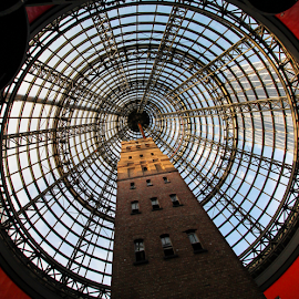 Conical by Howard Ferrier - Buildings & Architecture Public & Historical ( shopping mall, atrium, skyscraper, melbourne, circle, chimney, shot tower, historical building )