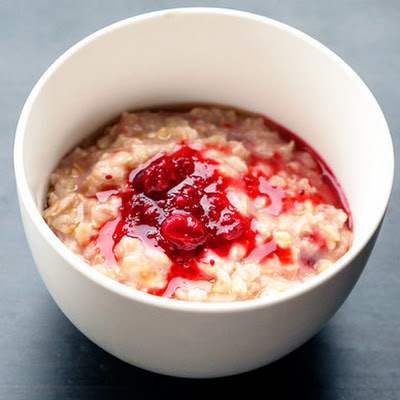 Toasted Oatmeal with Maple Syrup, Cranberries, and Raspberries