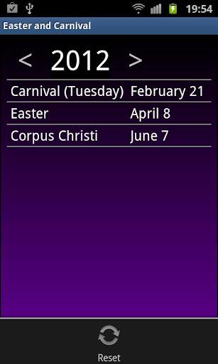 Easter and Carnival Calendar