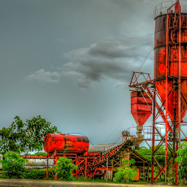 Cement Storage Silo by Nick Foster - Landscapes Travel ( work, building, rusty, mixer, cement, silo )