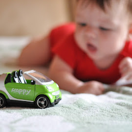 Car and baby by Maja  Marjanovic - Artistic Objects Toys ( car, happy, toys, baby, game )