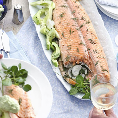 Foil-poached Salmon With Dill & Avocado Mayo
