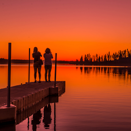 Romantic Evening by Joseph Law - Landscapes Sunsets & Sunrises ( in asastotin lake, sunset, romantic, reflections, elk island, evening, wooden bridge )