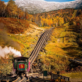 Mt Washington Cog Railway by Sheldon Anderson - Transportation Railway Tracks ( mt washington, sky, cog railroad, blue, coal, snow, fall, train, steam, , color, colorful, nature )