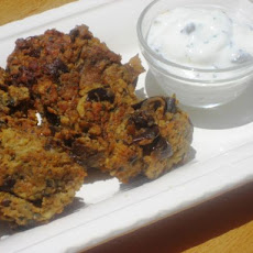 Spicy Eggplant Fritters With Yogurt Dip