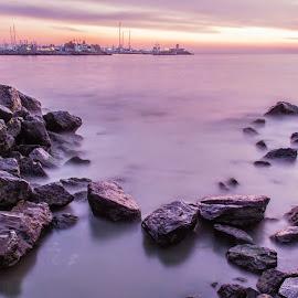Kalamış Sunset by Mesut Ozsoy - Landscapes Sunsets & Sunrises ( canon, sky, sunset, sea, long exposure, turkey, istanbul, landscape )