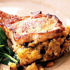 Pork Chops with Fruitcake Stuffing